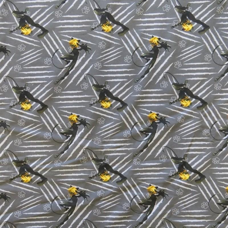 Bomuldsjersey økotex m/digitalt tryk med Miraculous Ladybug i grå, sort og gul