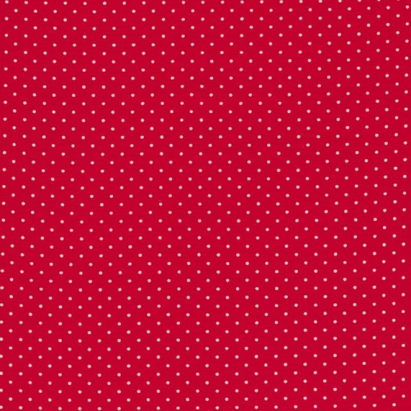 Bomuld lycra økotex med lille prik, rød hvid-36