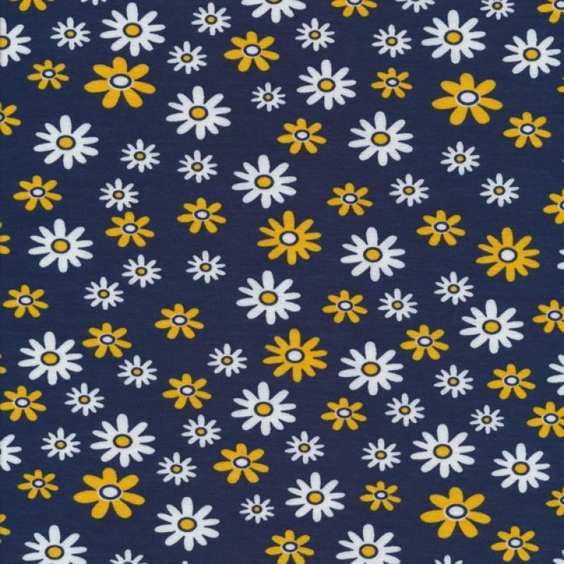 Bomuld/lycra økotex i støvet mørkeblå med blomster i hvid og gul-38