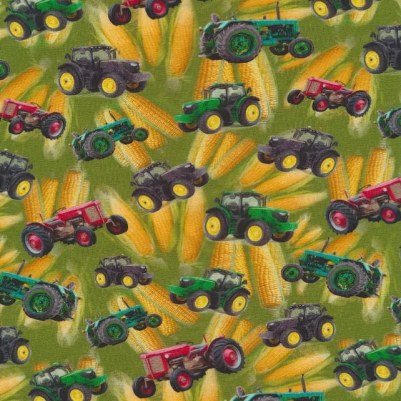 Bomuld/lycra økotex m/digitalt tryk, med traktor og majs-35