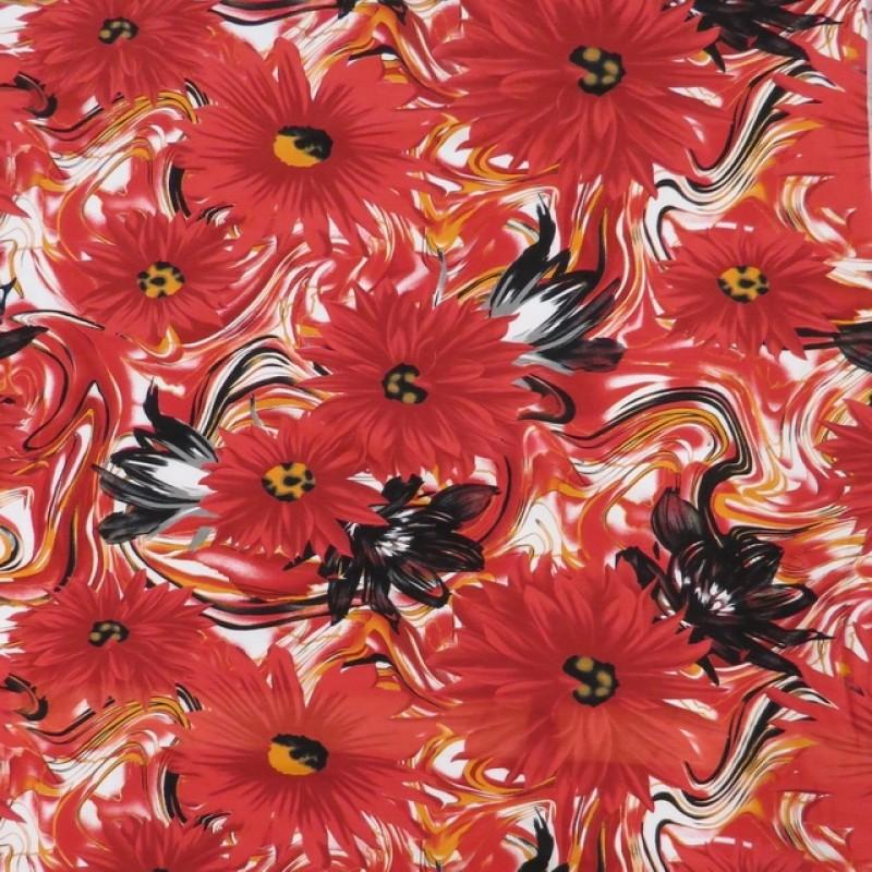 Bomuldsjersey økotex m/digitalt tryk med store blomster i rød-312