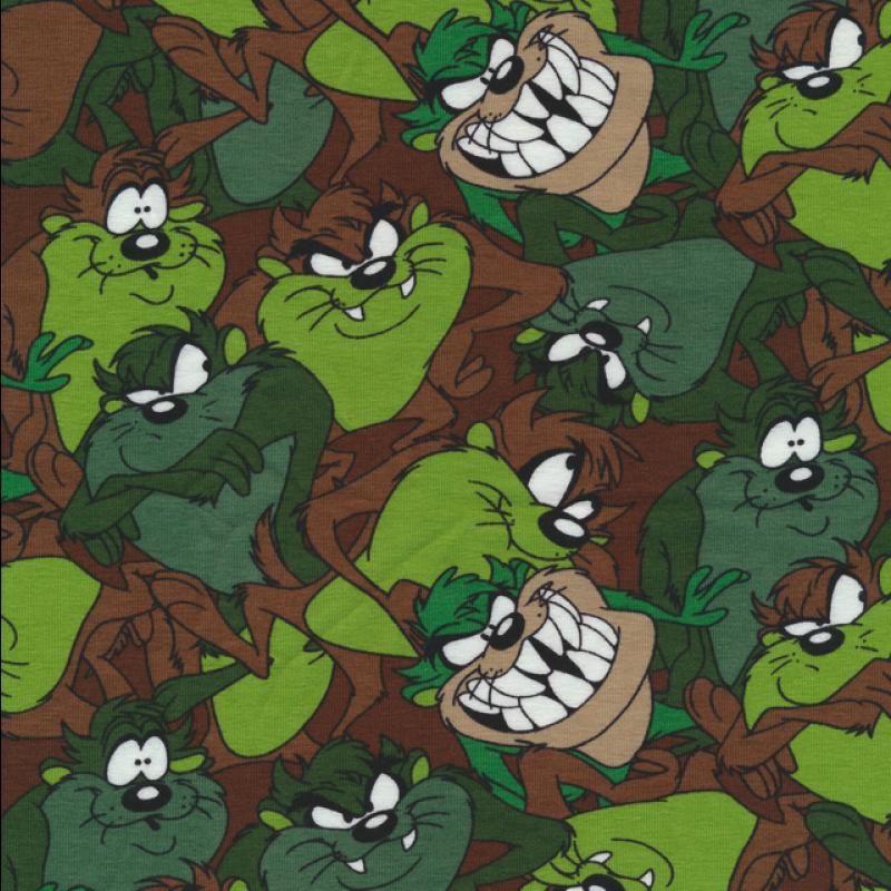 Bomuld/lycra økotex med tegning af dyr i grøn brun-317
