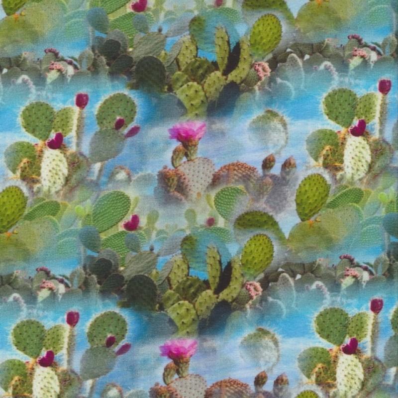 Afklip Bomuldsjersey økotex m/digitalt tryk med kaktus 40x60 cm.-314