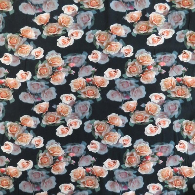 Afklip Bomuldsjersey økotex m/digitalt tryk i sort med roser 40x60 cm.-315