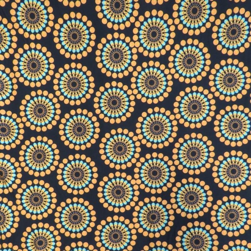 Bomuldsjersey økotex m/digitalt tryk med retro cirklel/blomst i sort carry turkis-317