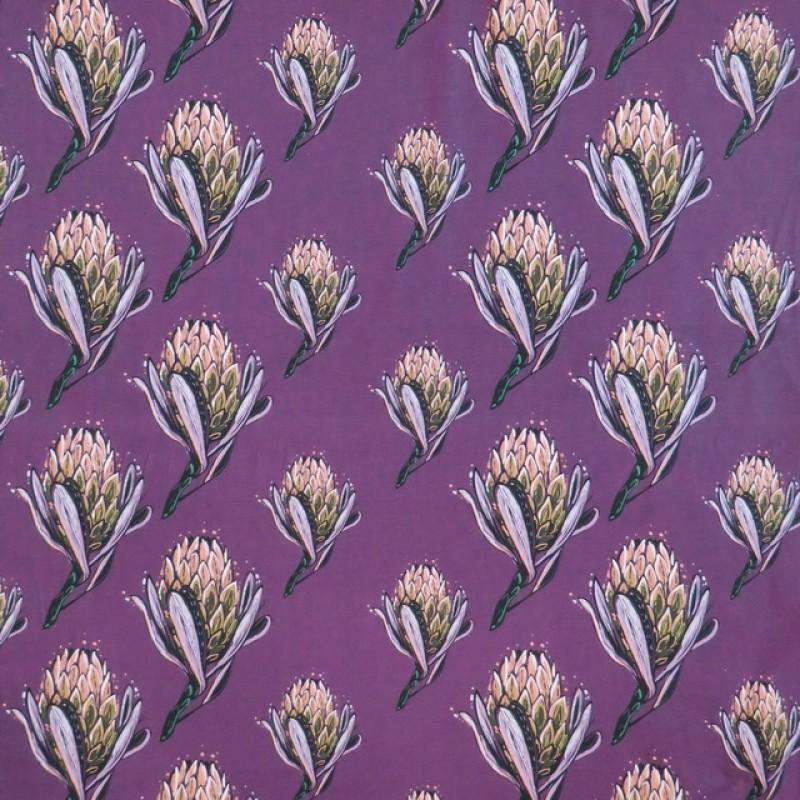 Bomuldsjersey m/digitalt tryk med artiskok blomst i lyng-316