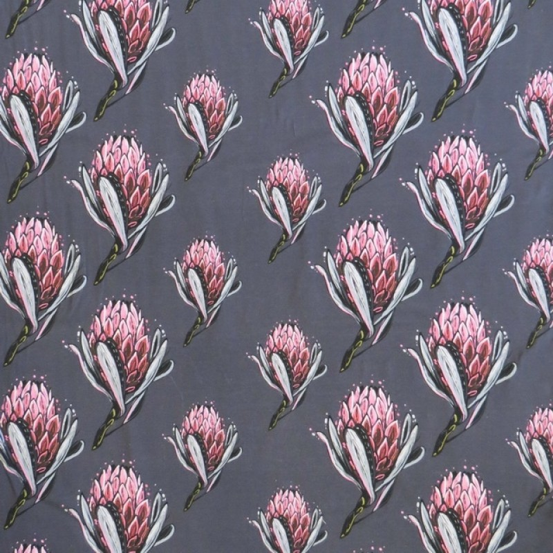 Bomuldsjersey m/digitalt tryk med artiskok blomst i støvet grå-blå-317