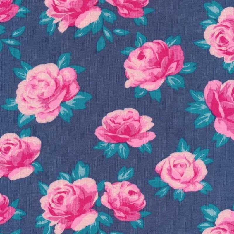Rest Bomuld/lycra økotex med roser i denim lyserød pink 80 cm.-36