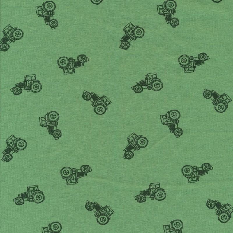 Bomuld/elasthan økotex grøn med traktor-39