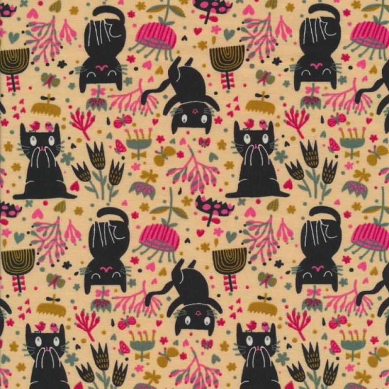 Bomuld/lycra økotex i lys laks med sorte katte og blomster-38