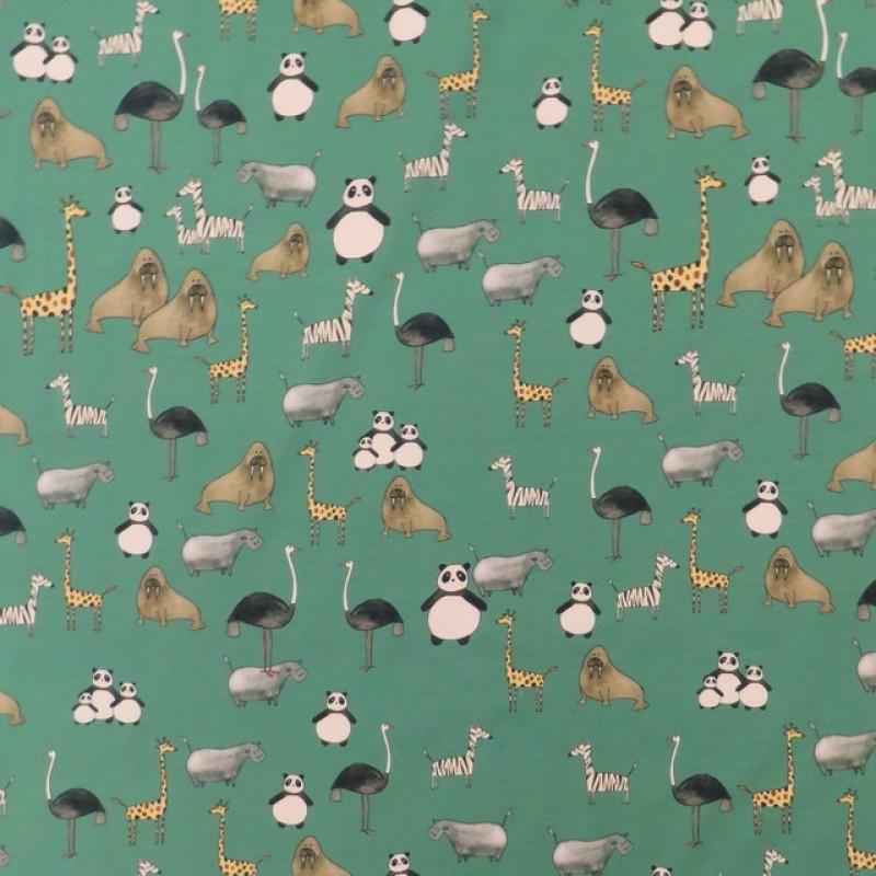 Bomuldsjersey GOTS digital print grøn med dyr-319
