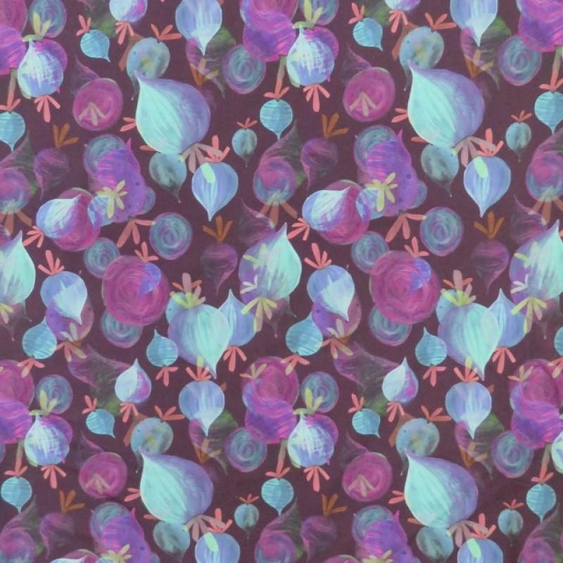 Afklip Bomuldsjersey GOTS digital print i blomme med beder 60x40 cm.