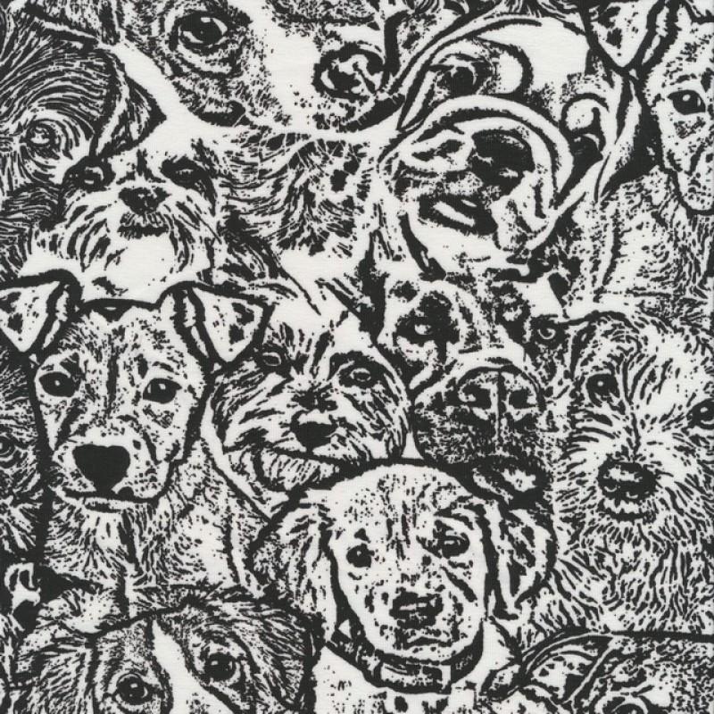 Bomuld/lycra økotex med tegning af hunde hoveder i sort og hvid-39