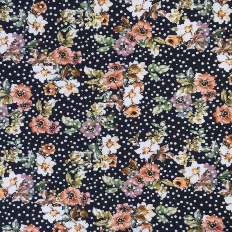Bomuld/lycra økotex med digitalt tryk med blomster og prikker i sort orange-310