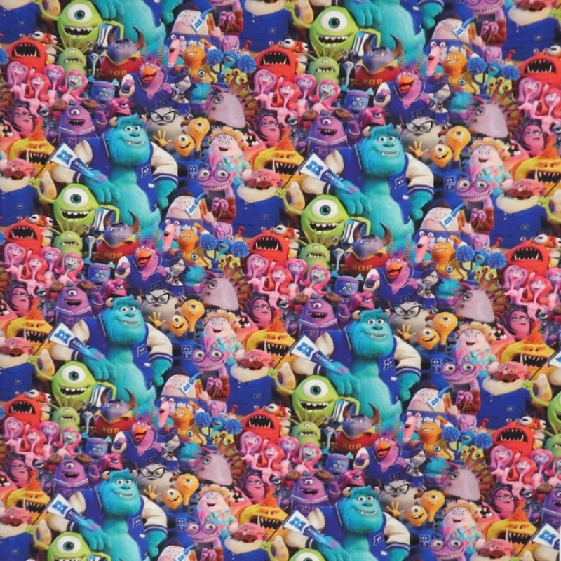 Bomuld/elasthan digitalt tryk med Monsters Inc-312