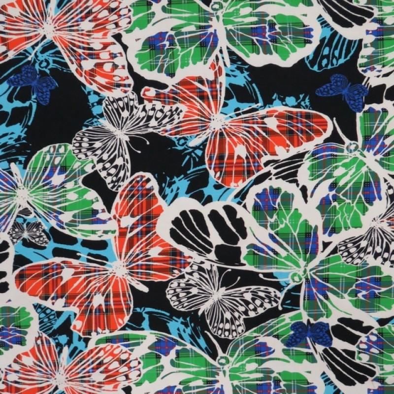 Bomuldsjersey med sommerfugle med tern i digitalprint-312