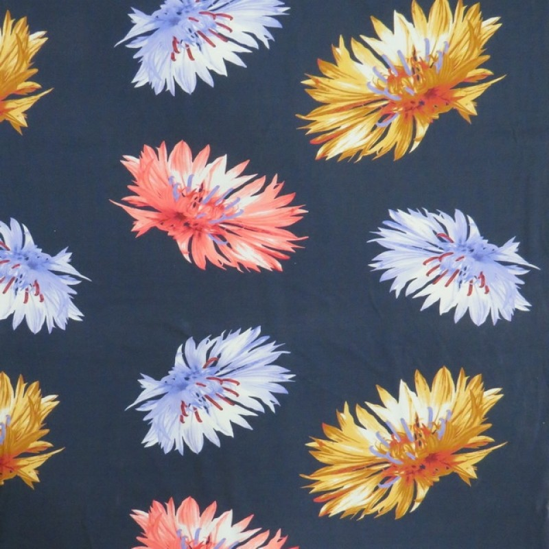 Bomuldsjersey i marine med digitalprint med store blomster-316