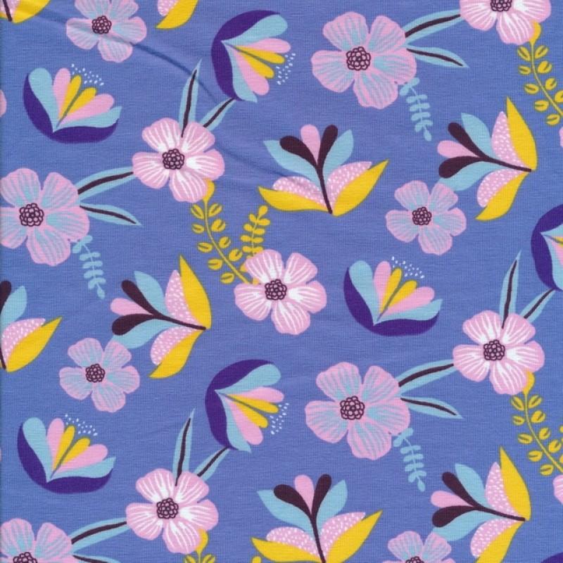 Økologisk Bomuldsjersey i blå-lavendel med blomster