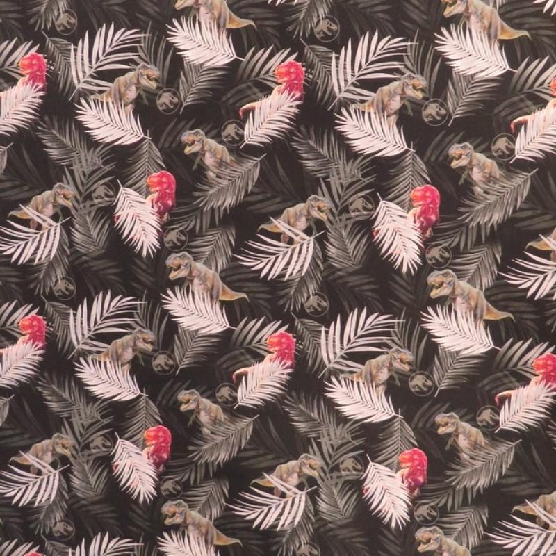 Bomuld/elasthan i digitalprint i sort med dinosaurus og palmeblade