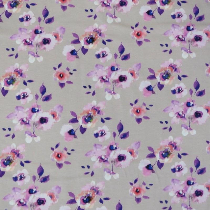 Bomuld/elasthan i digitalprint i pudder-beige med blomster-314