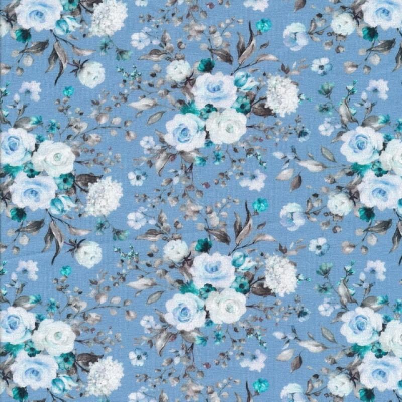 Bomuld/lycra økotex m/digitalt tryk i lyseblå med blomster-38