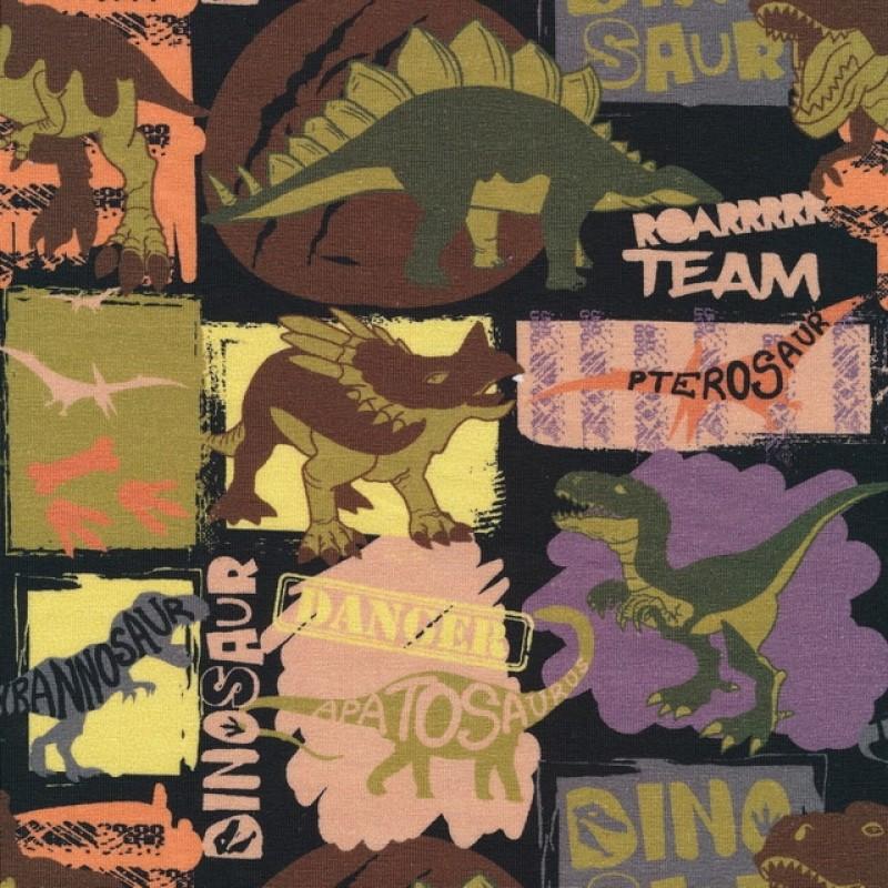 Bomuld/lycra økotex med dinosaurus i oliven brun og sort-314