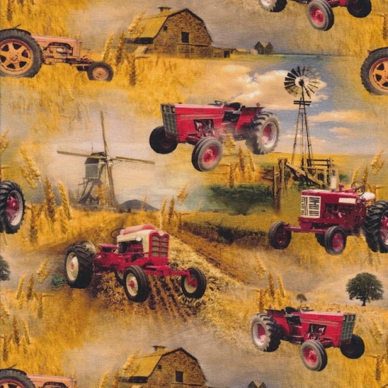 Bomuld/lycra økotex m/digitalt tryk, med rød traktor, mølle og korn