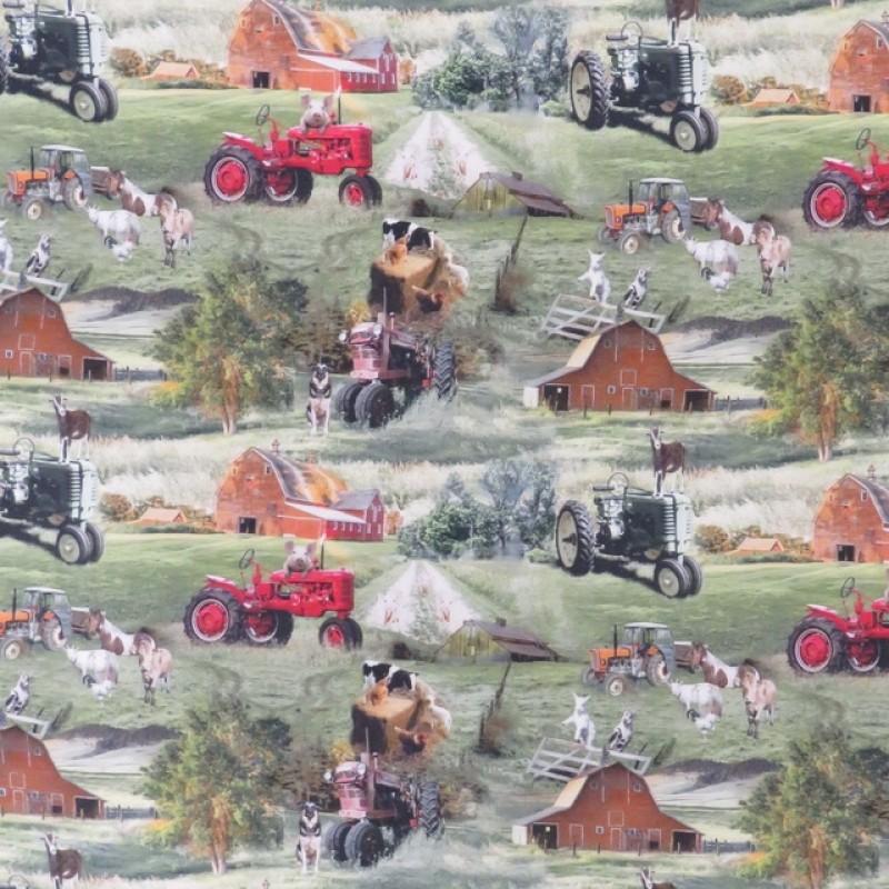 Bomuld/lycra økotex m/digitalt tryk, med traktor og dyr