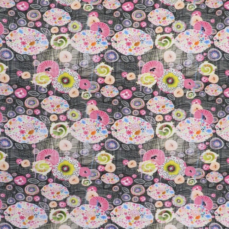 Afklip Bomuldsjersey økotex m/digitalt tryk med mønstrede cirkler i sort pink