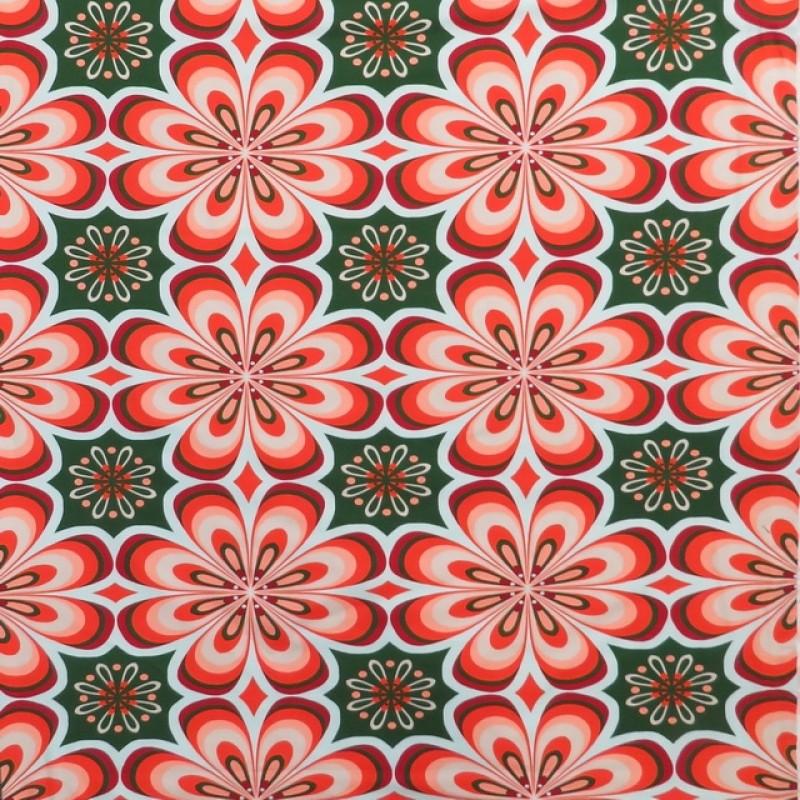 Bomuld/lycra økotex m/digitalt tryk med stor retro blomst