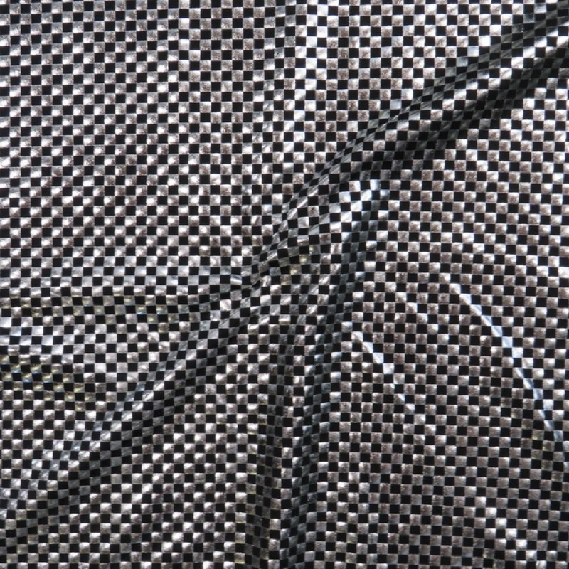 Polyester jersey med tern i sort og sølv