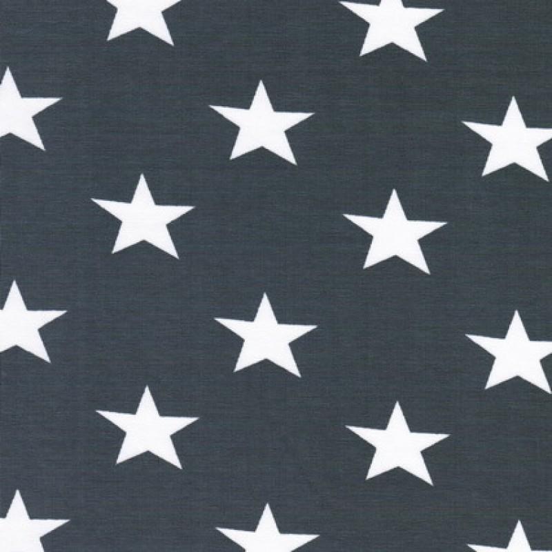 Rest Øko-bomuld/lycra m/stjerner, grå/hvid 60 cm.