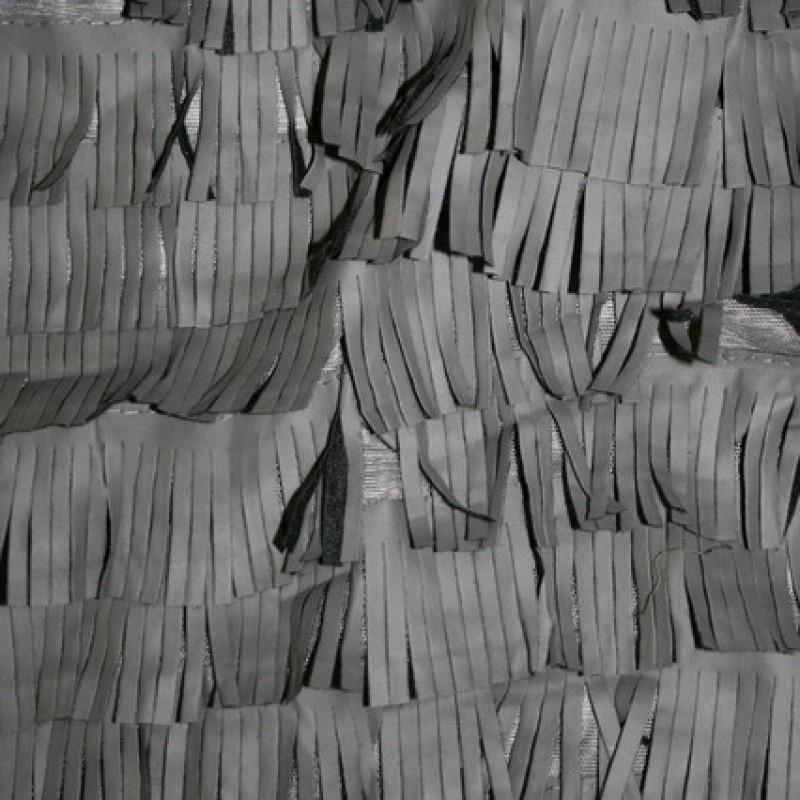 Rest Imiteret læder m/frynser, grå 50 cm.-35