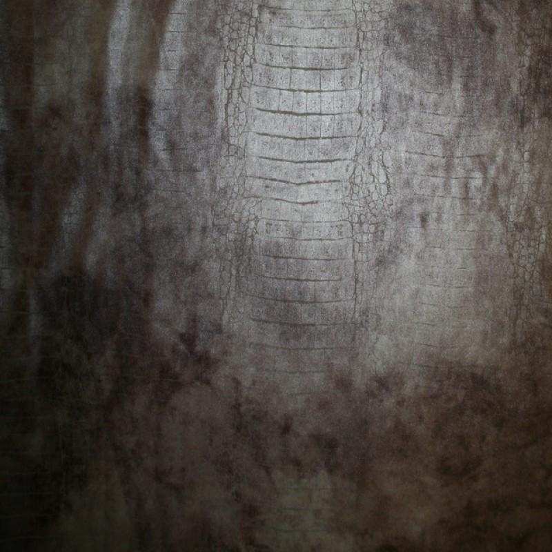 Rest Pudder-brun læder-look med dyreprint og let stræk 80 cm.-34