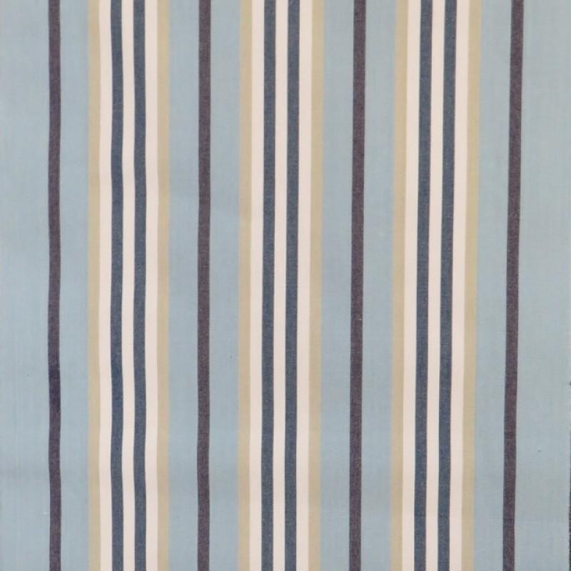 Liggestole stof stribet i lyseblå, khaki, marine