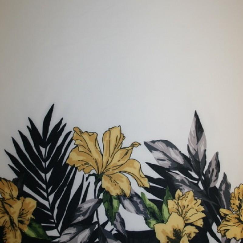 Afklip Scuba-jersey -blomster-bort off-white gul, 100 cm.