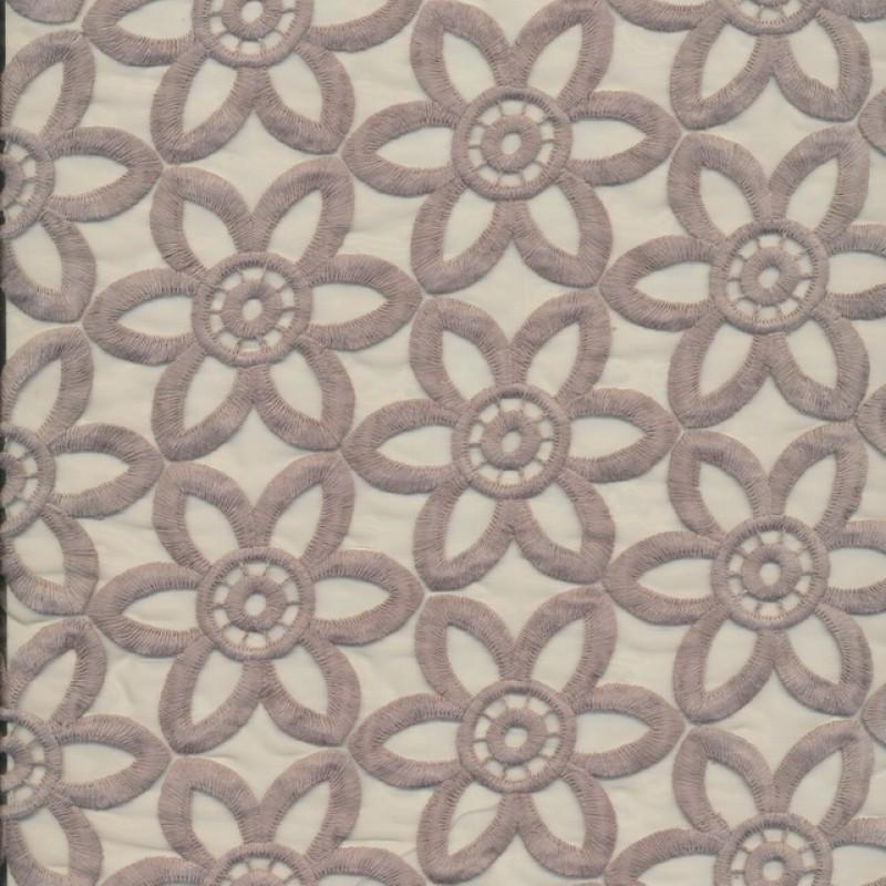 Rest Organza med blomster-broderi sand, 120 cm.