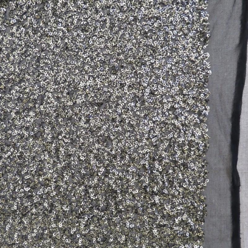 Paillet stof i gl.guld og sort på tyl-33