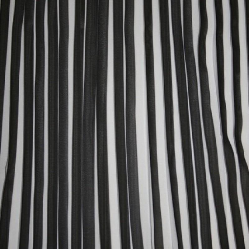 Plissé sort/hvid polyester-33