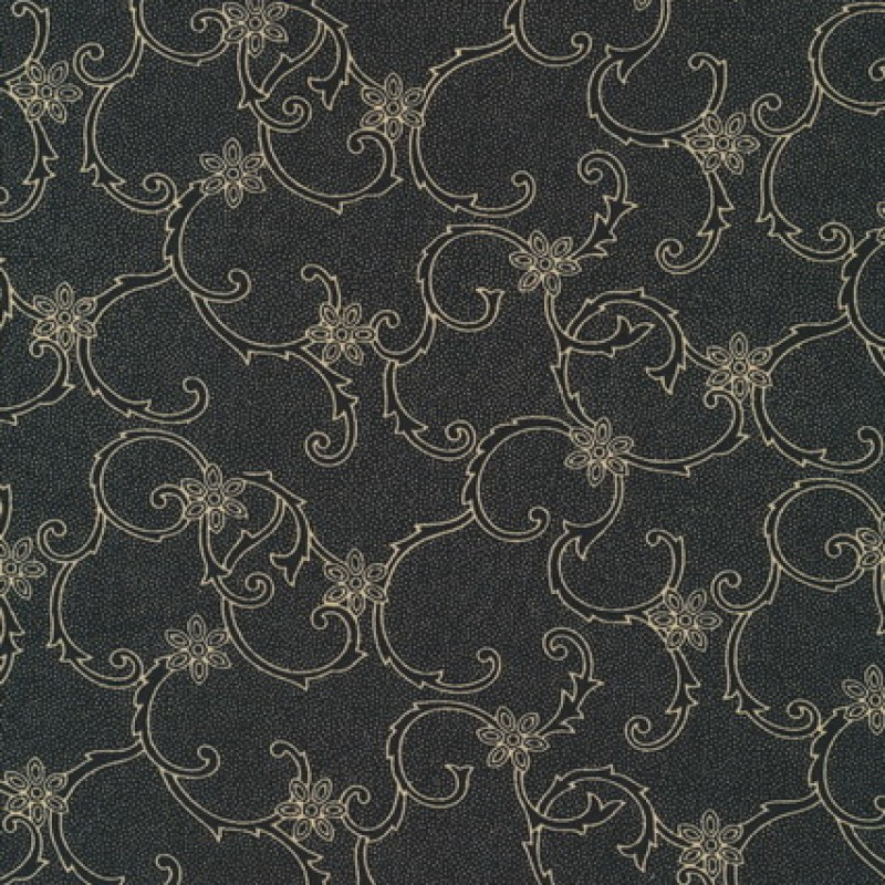 Rest Polyester m/blomster-mønster koks/beige 40 cm.-33
