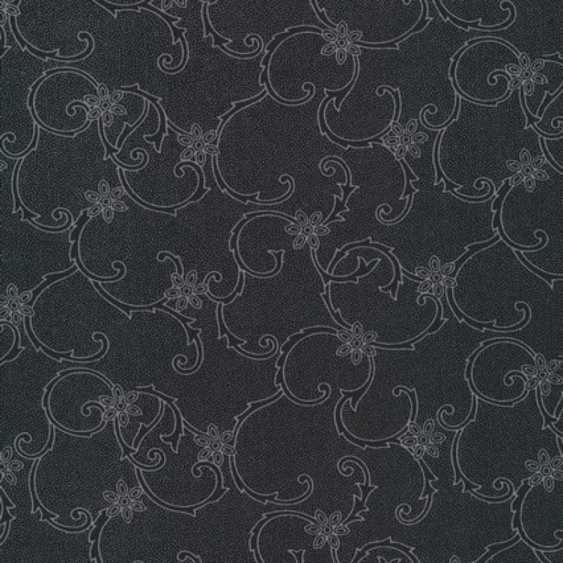 Rest Polyester m/blomster-mønster sort/grå 40 cm.-33