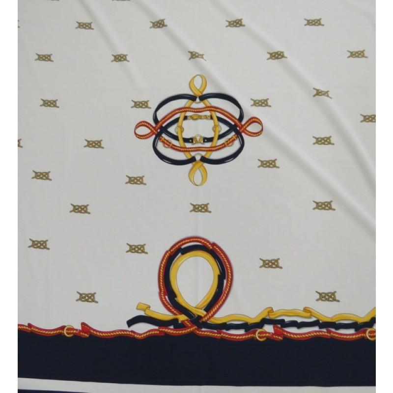 Rapport Polyester med maritimt print 150x155 cm.-06