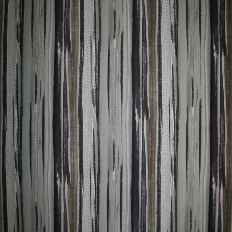 Rest Polyester med uens striber i grå-grøn brun koks, 45 cm.
