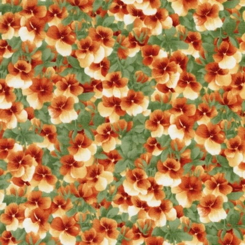 Rest Patchwork stof med stedmoderblomster i grøn og orange 30 cm.-31