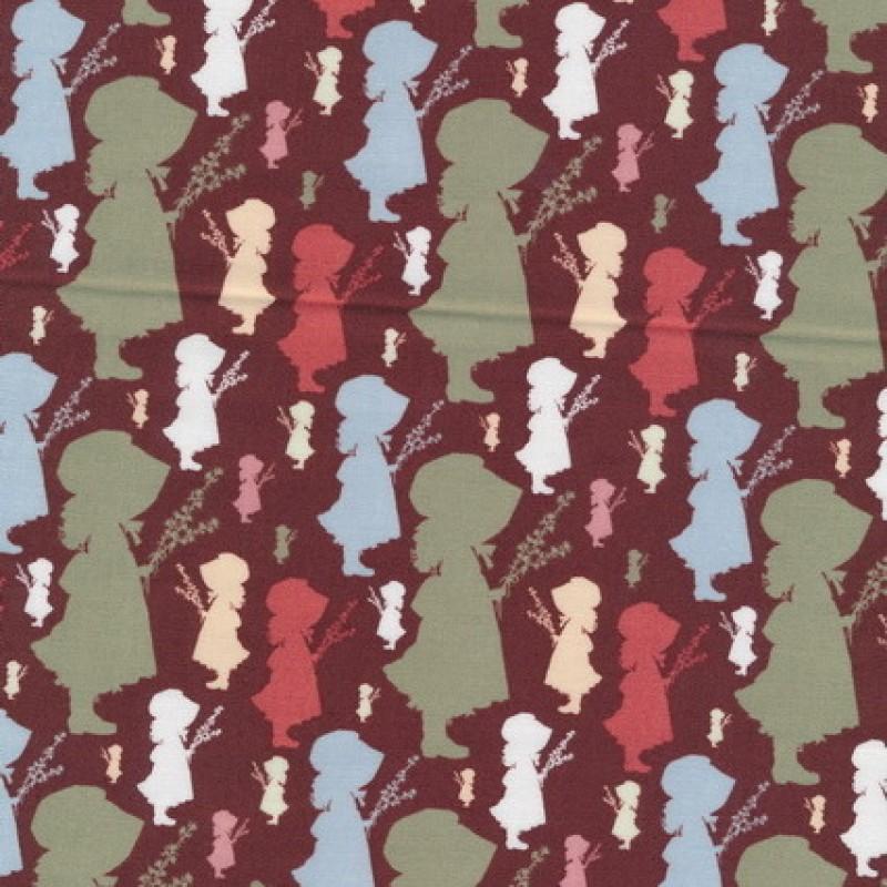 Afklip Patchwork stof Holly Hobbie country i brun, grøn og koral
