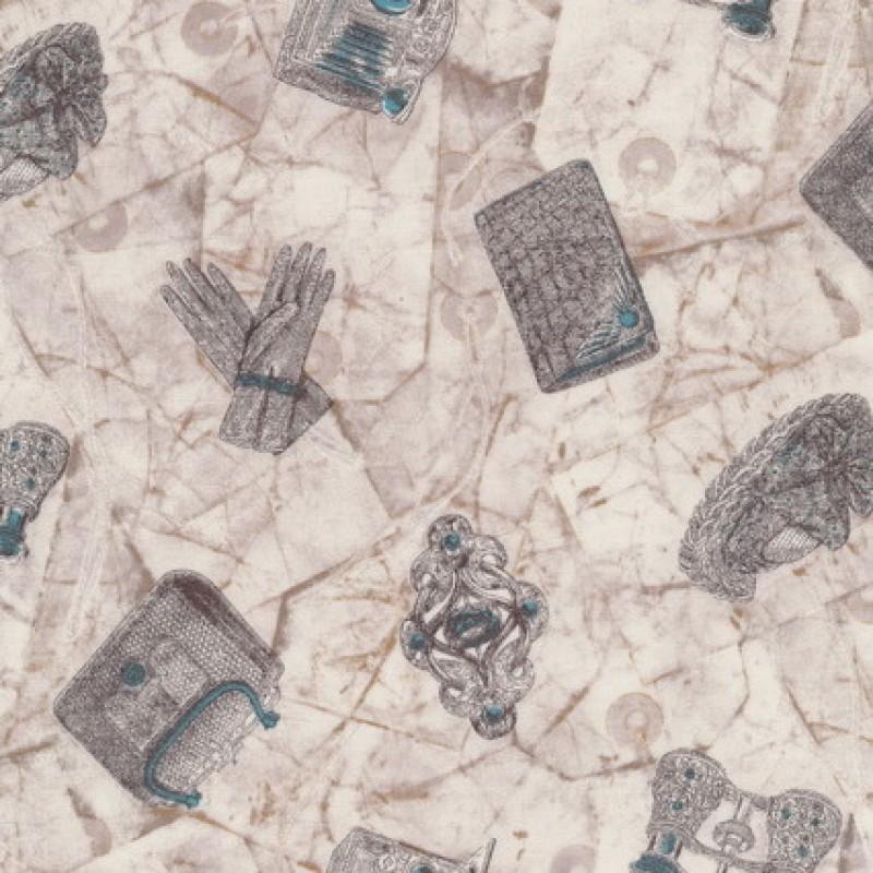 Patchwork stof i off-white grå-brun med hansker taske kikkert-31