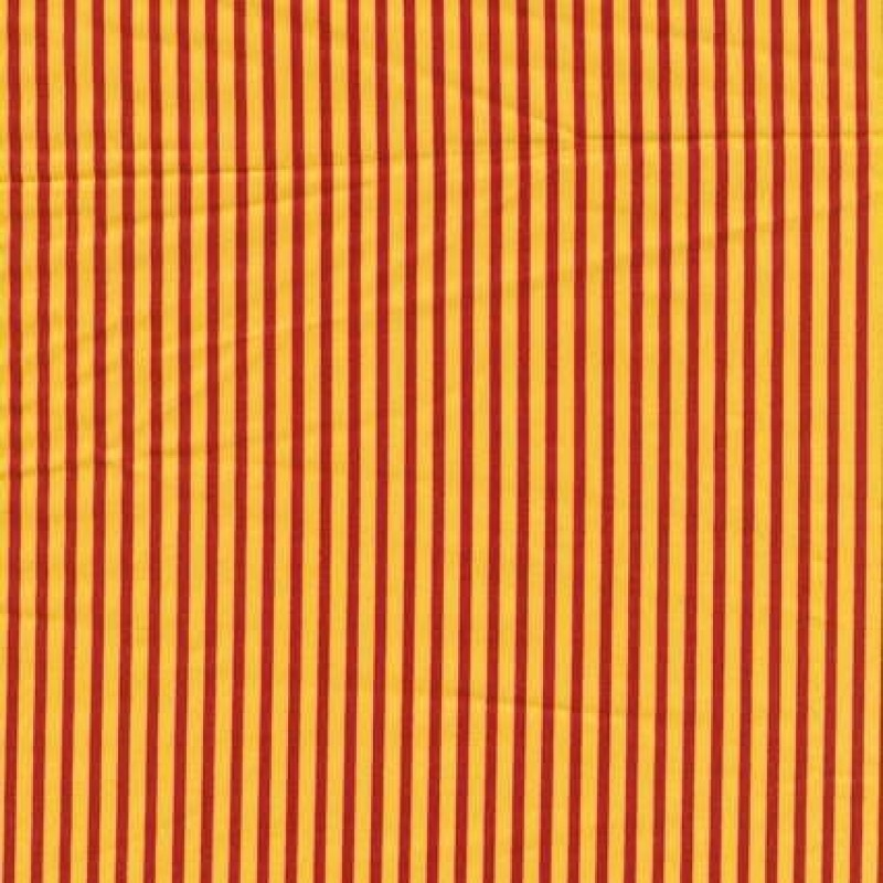 Rest Patchwork stof stribet poplin i gul og rød, 35 cm.