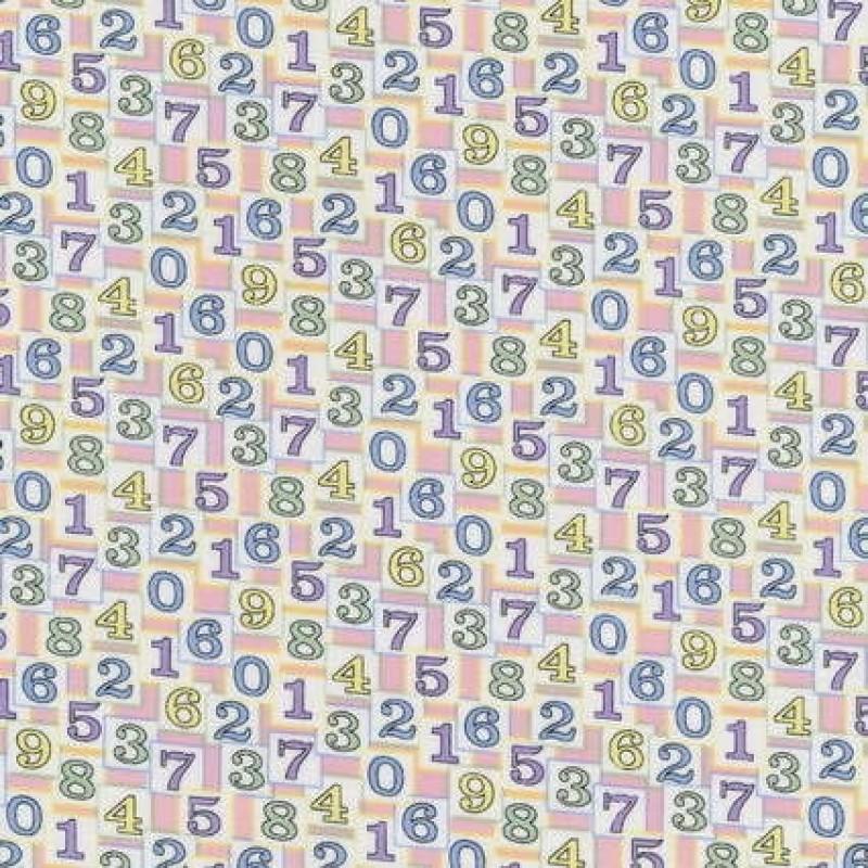 Patchwork stof med tal og firkanter-31