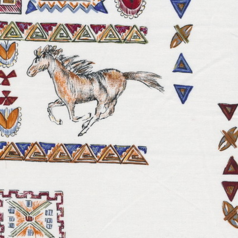 Rest Patchwork stof i knækket hvid med hest og firkanter, 55 cm.