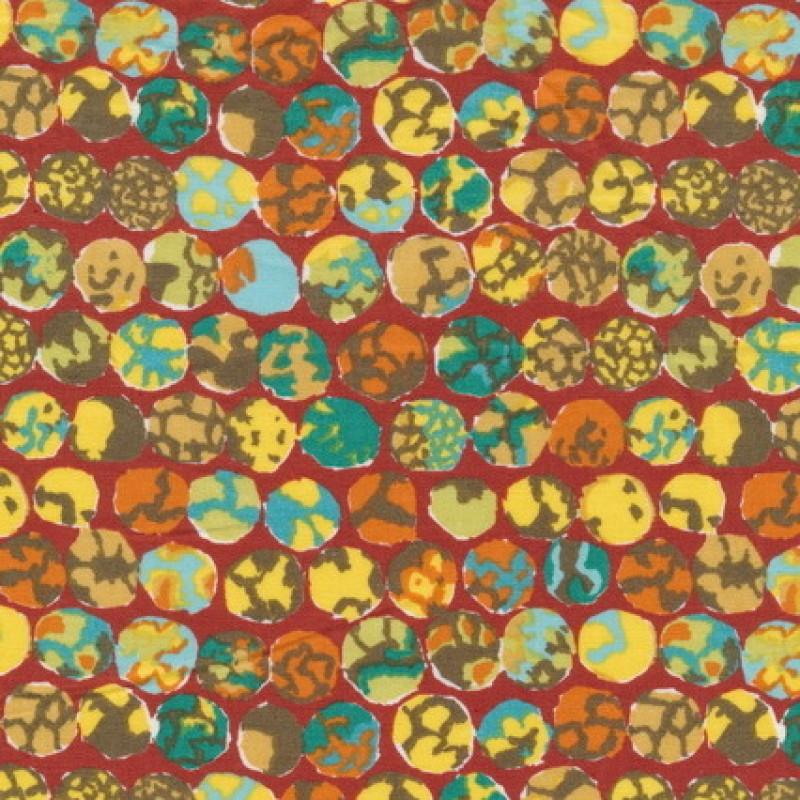 Patchwork stof af Kaffe Fassett med cirkler i brændt og orange-35